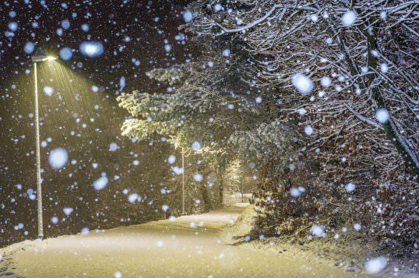 Schneeflocken erschrecken